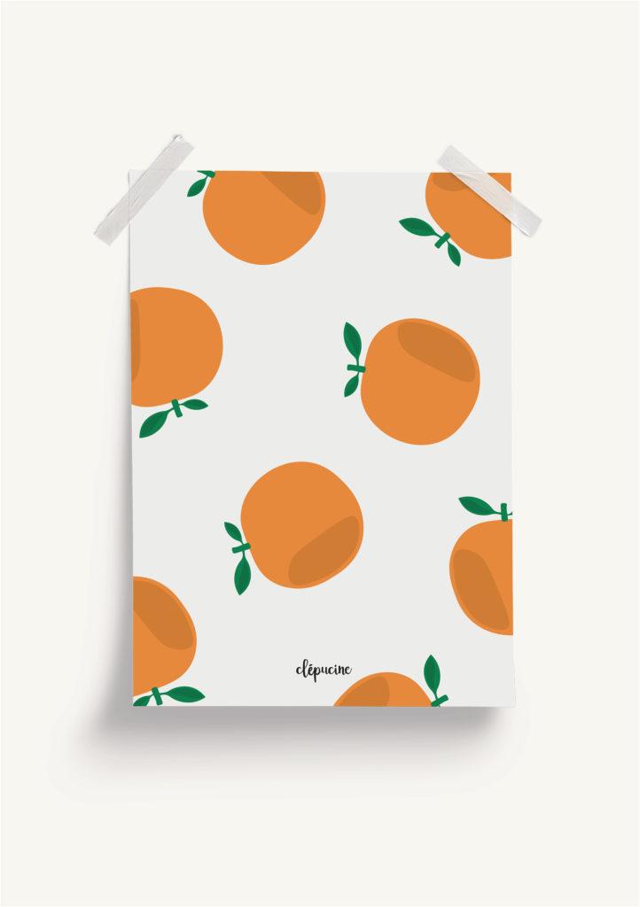 Fond d'écran motif orange, design graphique, mockup affiche