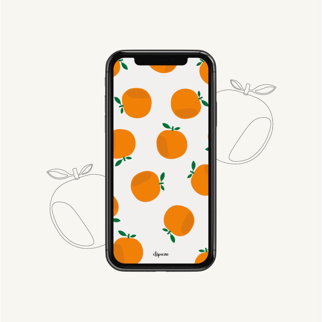 Fond d'écran motif orange, design graphique, mockup iphone 11