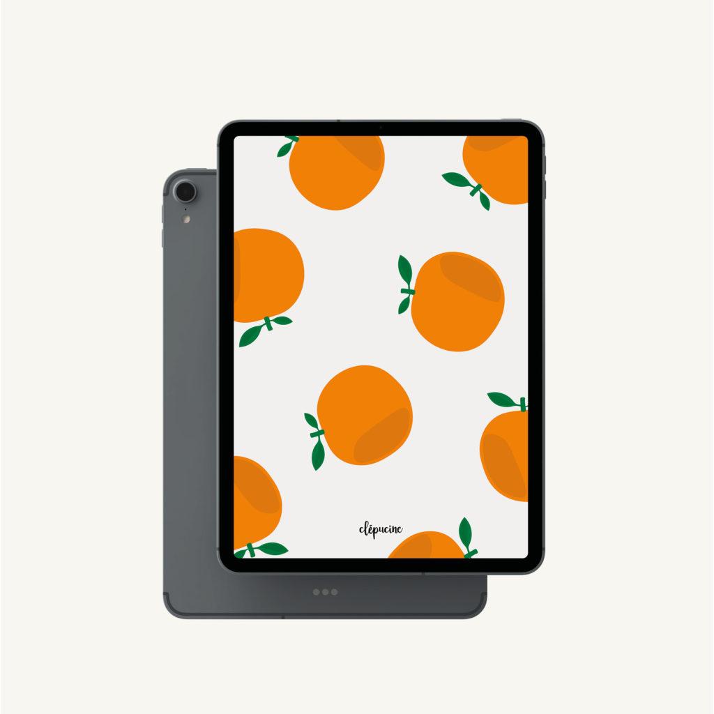 Fond d'écran motif orange, design graphique, mockup ipad pro
