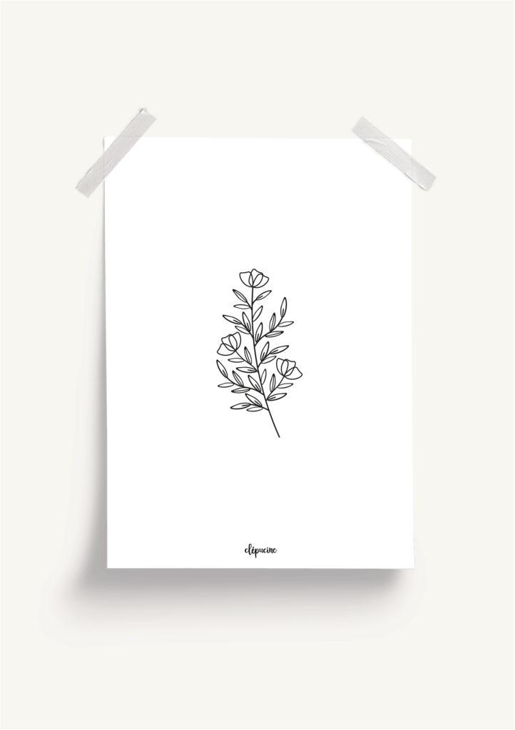 Affiche plantes, mockup fond blanc