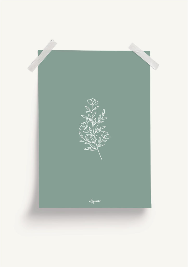 Affiche plantes, mockup fond vert