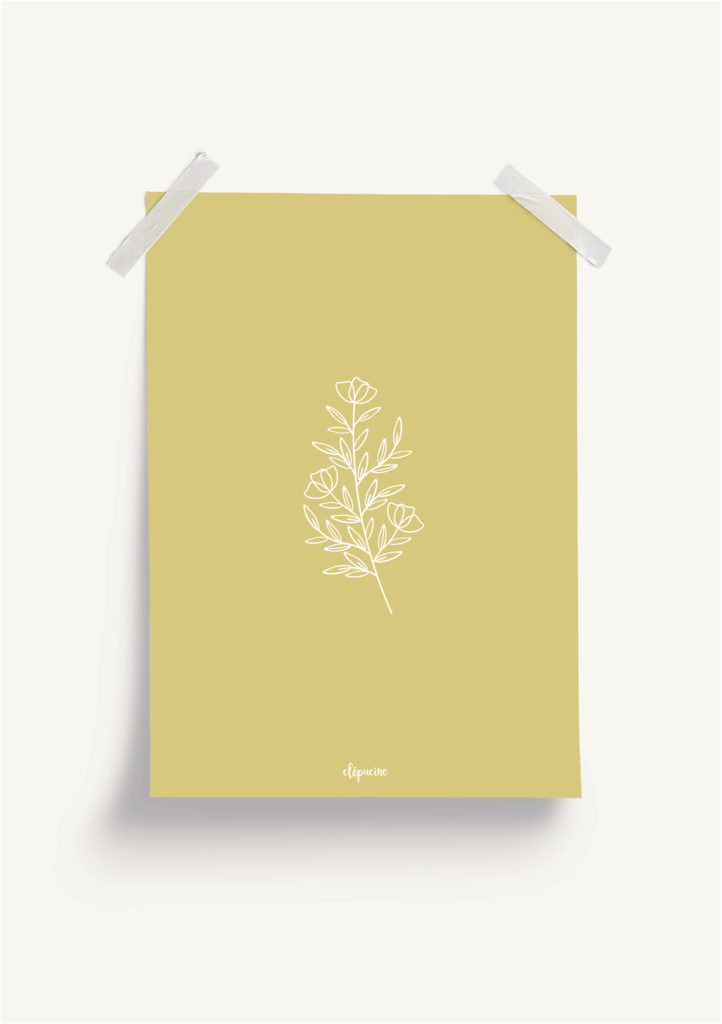 Affiche plantes, mockup fond jaune