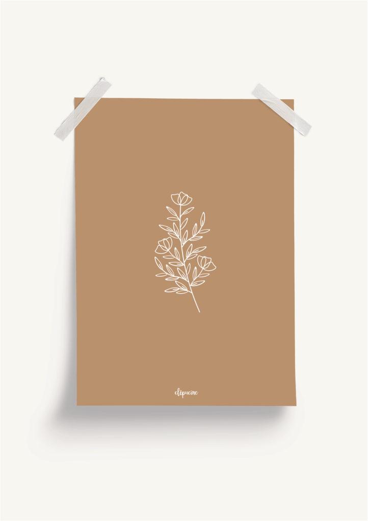Affiche plantes, mockup fond terracotta