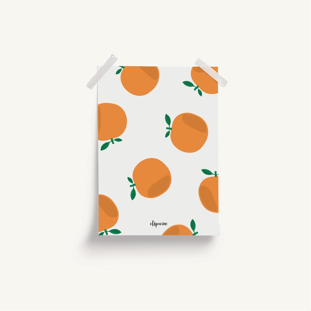 Projet graphique affiche décorative motif orange